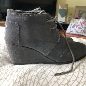 TOMS grey wedges size 7